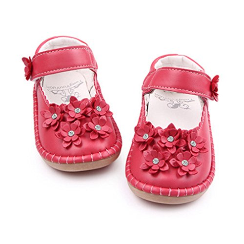 KVbaby Baby Mädchen PU Leder Prinzessin Schuhe Anti-Rutsch Mary Jane Halbschuhe Blume Ballerina Sandalen,Gr.21-25 Rot