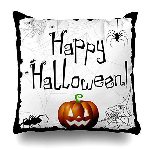 Kutita Decorativepillows Covers 16 x 16 inch Throw Pillow Covers,Halloween Happy Pumpkin White Pattern Double-Sided Decorative Home Decor Pillowcase -