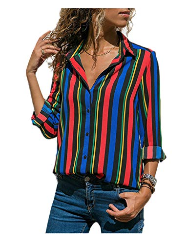 RICHPORTS Blouses for Women V Neck Casual Long Sleeve Button Down Collared T Shirt Color Block Strips Button Up Shirts Tops (Multicolor 2, XX-Large) ()