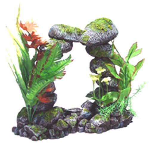 (Exotic Environments Stone Arch Floral Aquarium)