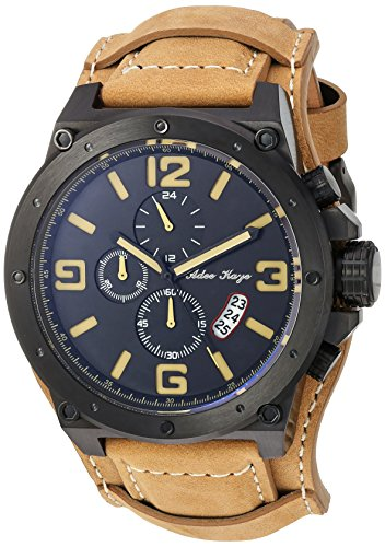 Adee Kaye Men's Quartz Stainless Steel and Leather Dress Watch, Color:Yellow (Model: AK8896-MIP-TAN)