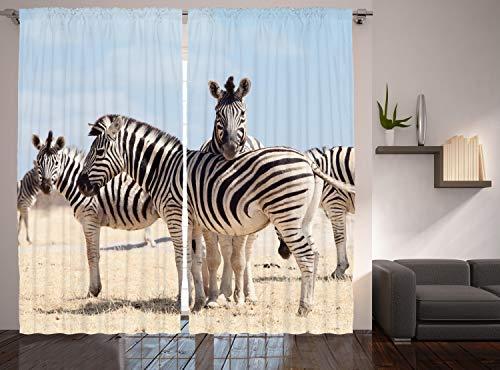 Ambesonne Wildlife Curtains, 3 Zebras in Namibia National Park Africa Savannah Safari Theme, Living Room Bedroom Window Drapes 2 Panel Set, 108