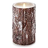 Luminara Unscented Flameless Pillar Candle with REAL BARK | Silver Brush Washed | 4'' x 7'' Inches