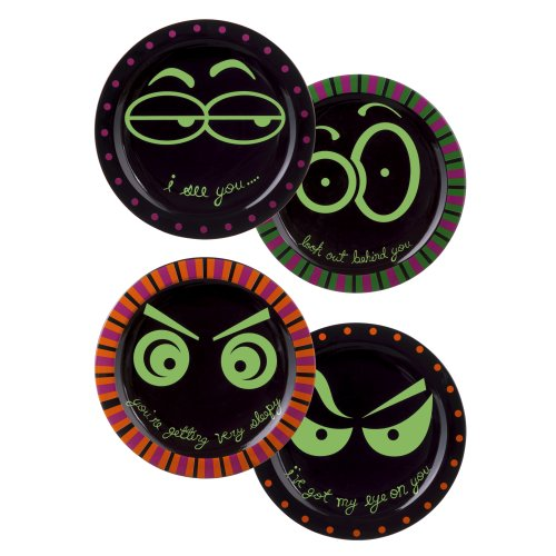 Grasslands Road Ceramic Watching Eyes Plate Assortment, 8-Inch, Set of 4 ()