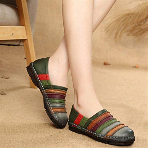 Mocasín Conducción Cuero Gris Casual Deslizamiento Planos Mujer Socofy Zapatillas Slip Mocasines De Zapatos on Mujer FqWdnT