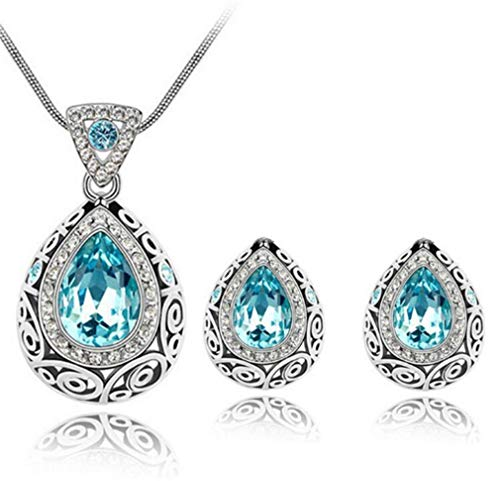 CHASIROMA Crystal Jewelry Set for Women Sterling Silver Square Cubic Zirconia CZ Bridal Pendant Necklace Earrings Set for Wedding Bride Bridesmaids Birthstone Fashion Jewelry Set