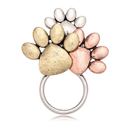 MANZHEN Tri-Colors Dog Paw Print Magnetic Badge Eyeglass Holder Brooch for Shirts (Silver)