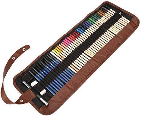 Juego de lápices de colores de 52 piezas con estuche de envoltura, 36 colores Dibujo de bocetos solubles en agua para artistas Juego de lápices de colores Set de lápices de bocetos