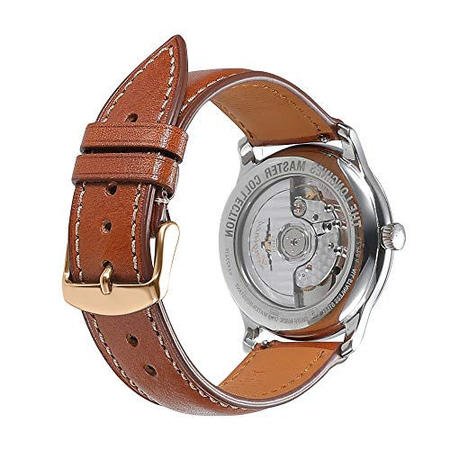 Watch Band 19mm Quick Release Replacement Leather Watch Straps AISHIRUI Genuine Brown Italian Calf Leather Bracelet with Rose Gold Buckle (Italian Leather Brown Calf)