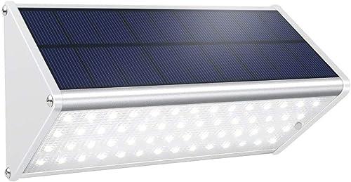 Solar Powered Motion Sensor Light Outdoor 56 LED Security Wall Light 1000 Lumen Aluminum Alloy Wireless Waterproof Lighting for Fence Garden Garage Stairs Driveway Patio