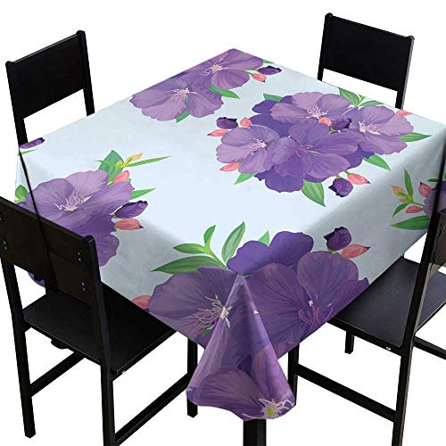 crabee Square Table Cloth Seamless Pattern with Beautiful Purple Princess Flower or tibouchina urvilleana and Leaf on Blue Background,W70 x L70 Square Tablecloth