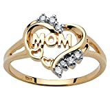 White Diamond Accent 10k Yellow Gold Mom Heart Ring (.10 cttw, HI Color, I3 Clarity)