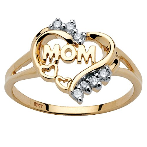 White Diamond Accent 10k Yellow Gold Mom Heart Ring (.10 cttw, HI Color, I3 Clarity) Size 7 ()