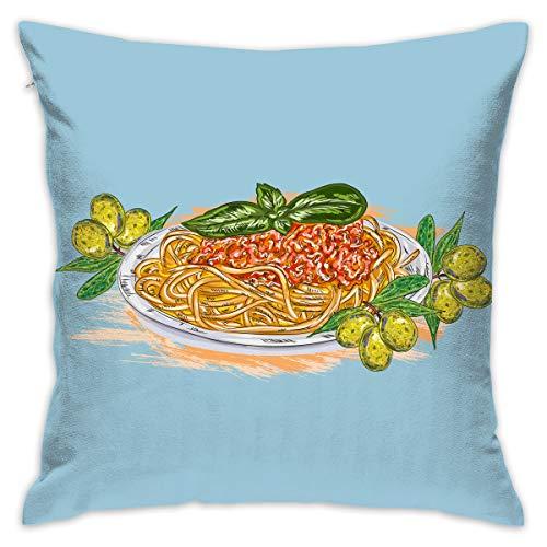Karen Felix Throw Pillow Covers Hand Print Pasta Decorative Cushion Case for Sofa Bedroom Car 18 X 18 Inch 45 X 45 -