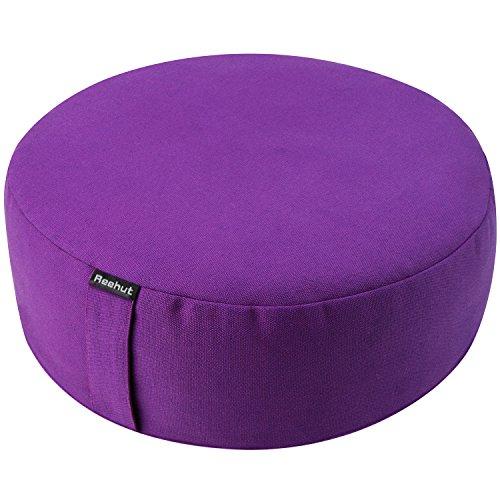 Reehut Zafu Yoga Meditation Bolster Pillow Cushion Round Cotton or Hemp - Organic Buckwheat Filled - (Purple, 16'x16'x4.5')