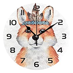 Dozili Watercolor Boho Funny Animal Fox Decorative Wooden Round Wall Clock Arabic Numerals Design Non Ticking Wall Clock Large for Bedrooms, Living Room, Bathroom