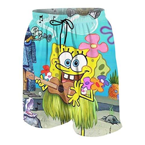 LWEIBIN Teen Boys Swim Trunks Spongebob Quick Dry Beach Board Shorts Bathing Suit with Side Pockets -