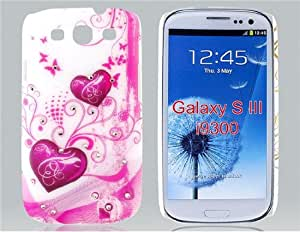 Peach Heart Pattern Plastic Case with Diamond Decoration for Samsung Galaxy S3/I9300