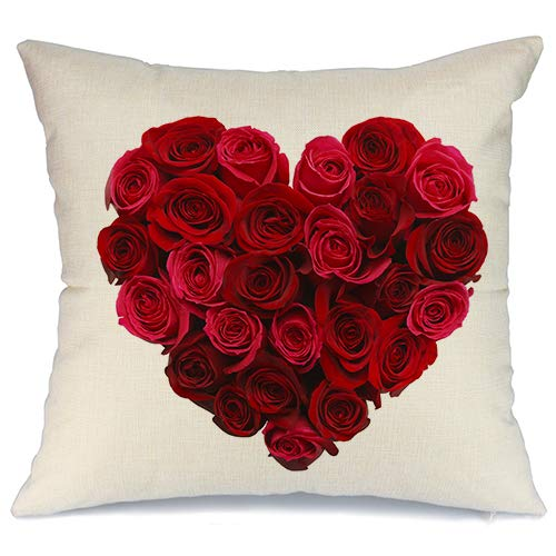 AENEY Valentines Pillow Cover 18x18 for Couch Love Red Rose Sweet Heart Valentine's Day Decorations Throw Pillow Home Decor Pillowcase Faux Linen Cushion Case Sofa A176