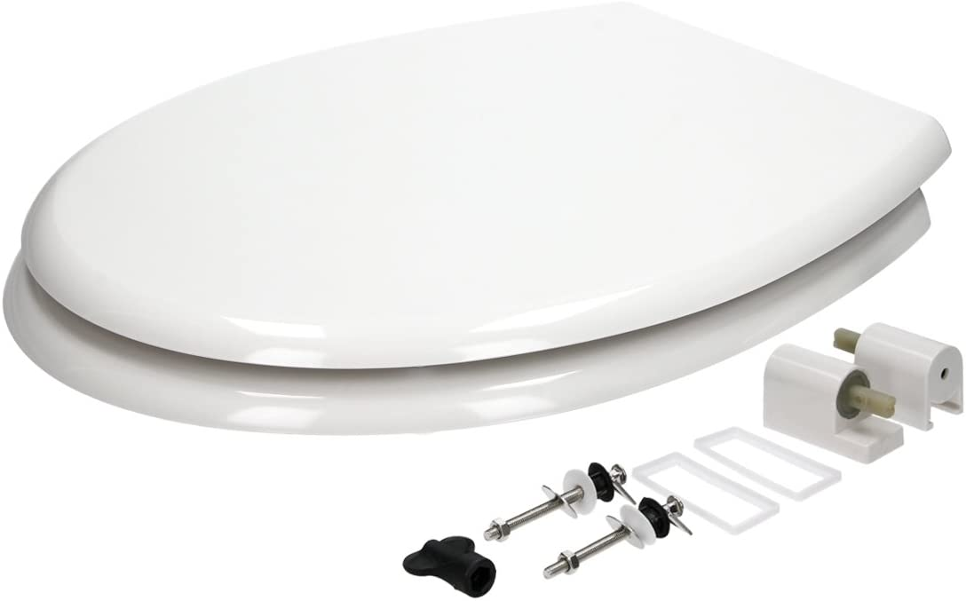 ECD Germany Si/ège de Toilette Blanc Premium Duroplast Couvercle de Toilette avec Soft-Close /& Rev/êtement antibact/érien INCL Mat/ériel de Montage