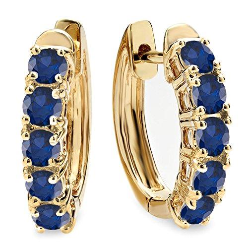 1.00 Carat (ctw) 18K Yellow Gold Round Blue Sapphire Ladies Huggies Hoop Earrings 1 CT
