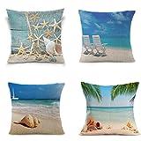 LEIOH Home Decor 4 Pack Summer Decor Cotton Linen Sea Conch Starfish Beach Decor Pillow Covers Throw Pillow Case Cushion Cover 18 x 18 Inch
