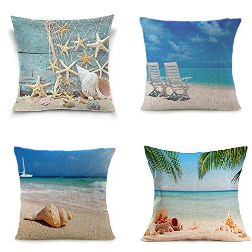 LEIOH Home Decor 4 Pack Summer Decor Cotton Linen Sea Conch Starfish Beach Decor Pillow Covers Throw Pillow Case Cushion Cover 18 x 18 Inch (Cushion Starfish)