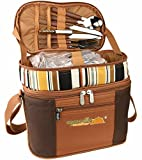 Glodwheat Picnic Bag Insulated Lunch Tote Camping Bag 2 Person Picnic Basket Set with Tableware,Cotton Napkins,Wine Glasses,Bottle Opener Set