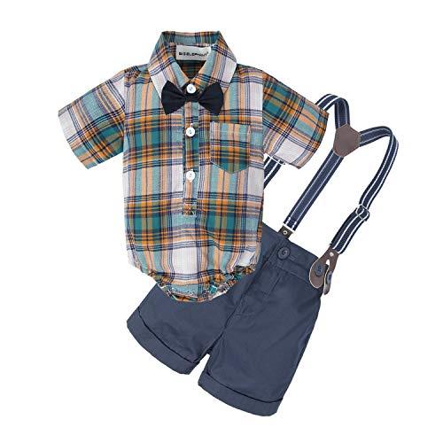 BIG ELEPHANT Baby Boys' 2 Piece T-Shirt Suspender Shorts Clothing Set -