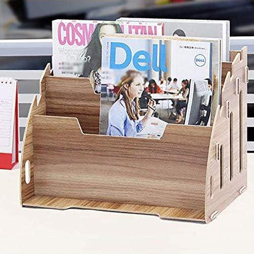 頑丈 ペンホルダーファイルボックス、木製多機能ニート、丈夫なテーブルストレージボックス、マガジンフォルダオフィスの表示は30 * 24 * 21センチスタンドラック (Color : D)