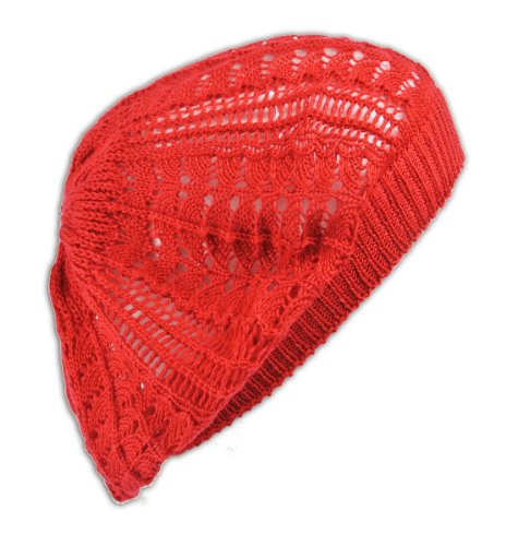 Red Hats Crochet Hat (Womens Fashion Crochet Beanie Hat Knit Beret Skull Cap Tam (Red))