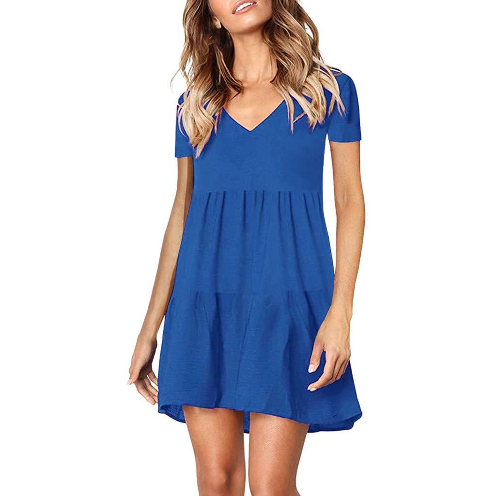 KIMODO Kleid Damen Einfarbig V-Ausschnitt Kleider Minikleid Kurzarm Frauen Sommer Strandkleid