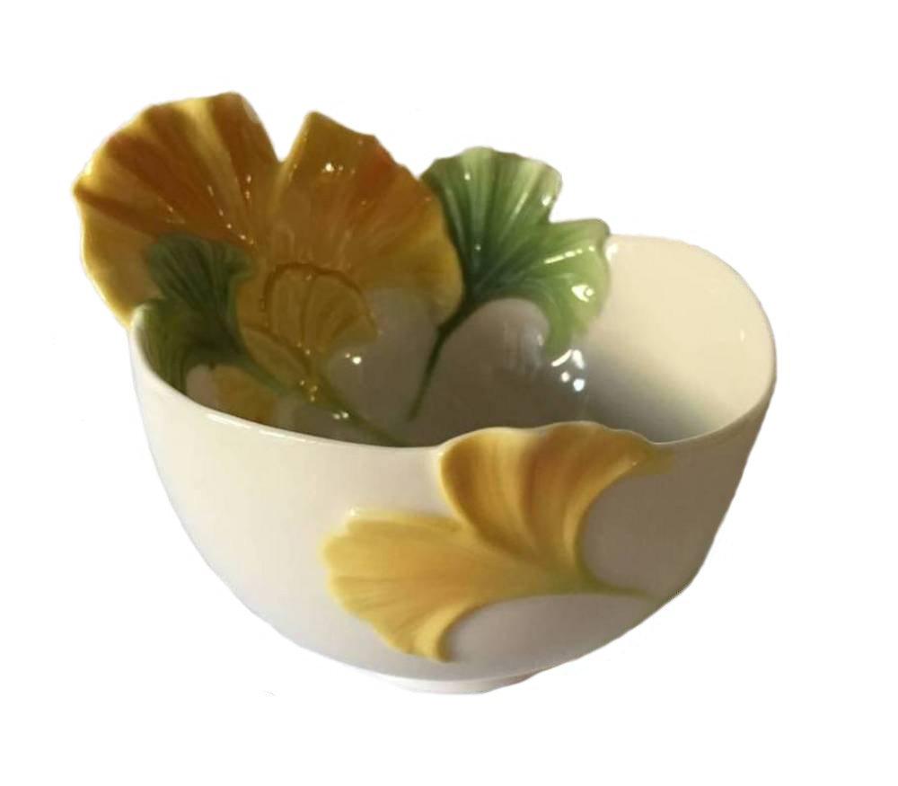 Retired Franz Fine Porcelain SPA Collection Ginko Flower Ornamental Bowl