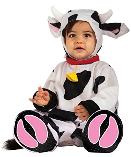 Cow Costumes Infant (Rubie's Costume Cuddly Jungle Mr. Moo Cow Romper Costume, White/Black, 6-12 Months)