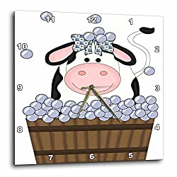 3dRose Cute Girl Cow in A Wooden Bath Tub with Bubbles - Wall Clock, 10 by 10-Inch (dpp_215458_1)