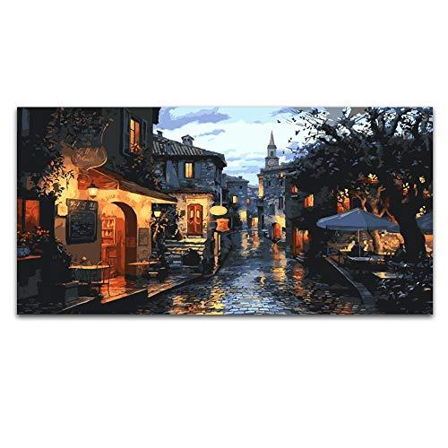 saludable Shuichengjiejing2 KYKDY 40X80cm Fotografías por número número número en lienzo Ciudad en el mar Pintura por números Pintura acrílica Coloración por números En lienzo Póster, 50x100cm sin marco, yangguangjiari 40x80cm no   compra limitada