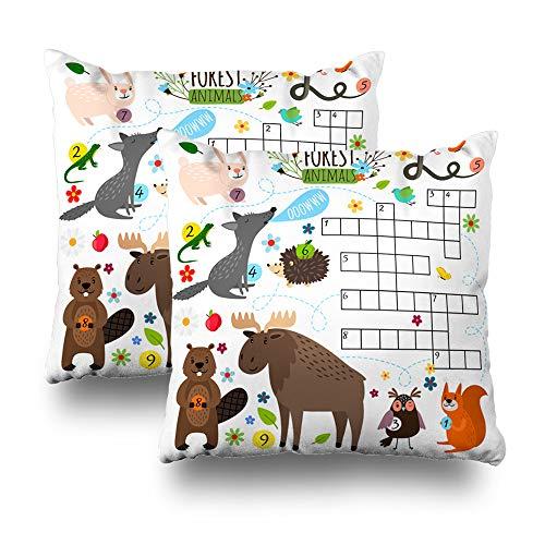 Suesoso Decorative Pillows Case 18 X 18 Inch Set of 2, Animals Crossword Book Puzzle Cross Word Game est Animals Throw Pillowcover Cushion Decorative Home Decor Garden Sofa Bed Car -
