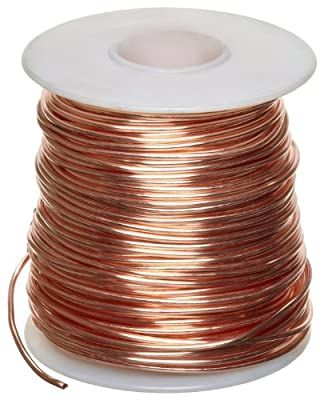"Bare Copper Wire, Bright, 14 AWG, 0.064"" Diameter, 80' Length (Pack of 1)"