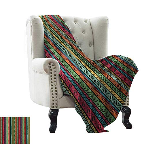 (LsWOW Baby Blanket Yarn Hippie,Artistic Hand Drawn Vertical Borders Colorful Native Ethnic African Culture Inspired, Multicolor Cozy Hypoallergenic, Easy to Carry Blanket 60