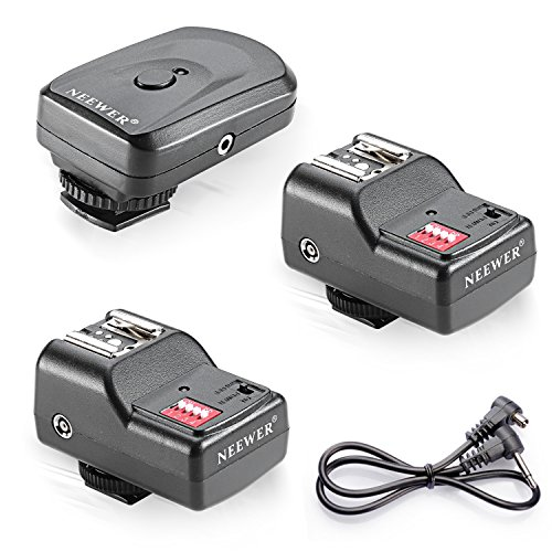 Trigger Set - Neewer 16 Channel Wireless Flash Trigger Set: 1 Transmitter + 3 Receivers + 1 Sync Wire Cable for Canon, Nikon, Pentax, Sigma, Vivitar and Other Flash Units with Universal Hot Shoe