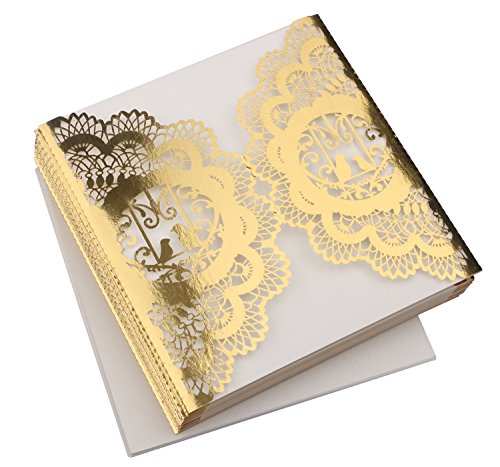 DriewWedding 20PCs Laec Wedding Party Invitation Cards, Hollow Greeting Invites Cards with Kraft Paper Inner Sheet, Envelopes & Hemp Rope Seals … (Light Gold)