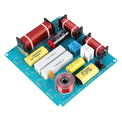 ASHATA Speaker Frequency Divider Board, Professional 3 Way Speaker Crossover Filter Audio Frequency Divider 300W for DIY KTV Stage Speaker with Over-Current Protection Design