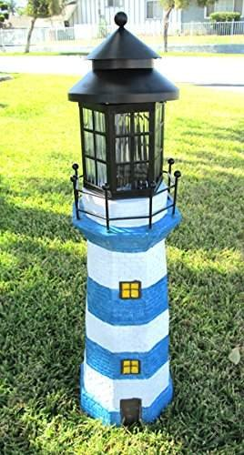 Solar Powered 4 Amer LED White and Blue Striped Fiberglass Lighthouse by Onlinez Trading