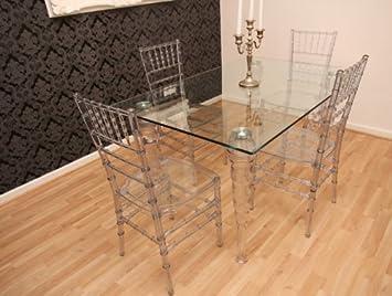 Designer Acryl Esszimmer Set   Ghost Chair Table   Polycarbonat Möbel   1  Tisch + 4
