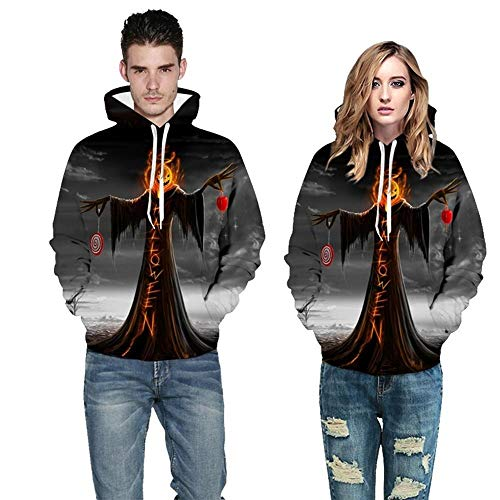 Party Costumes Scary Halloween Costume Couple Scary 3D Print Long Sleeve Top Hooded Sweatshirt Party Decoration (Color : Black, Size : M) -