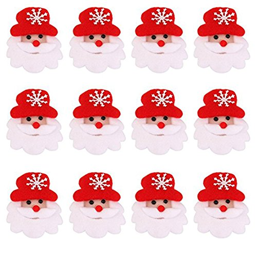 TOYMYTOY 12pcs Christmas Brooch Pin Set, LED Flashing Xmas Pin Cartoon Santa Claus Brooch for Children
