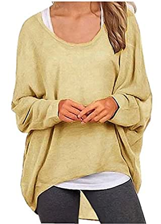 Uget Women's Casual Oversized Baggy Off-Shoulder Shirts Pullover Tops Asia S Apricot