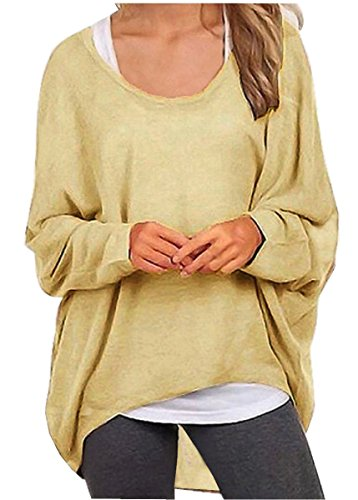 UGET Women's Casual Oversized Baggy Off-Shoulder Shirts Batwing Sleeve Pullover Shirts Tops
