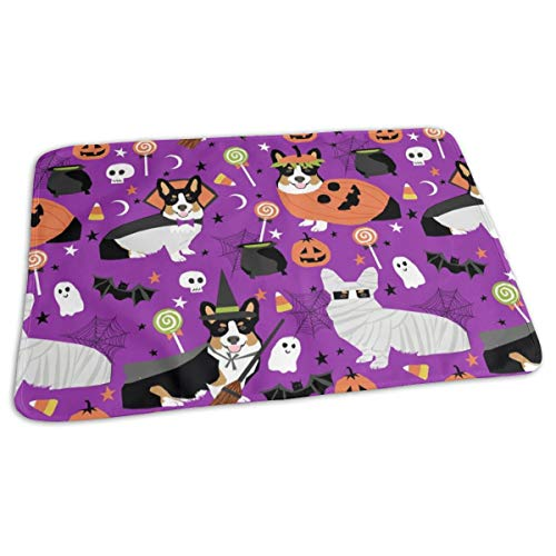 Tri-Colored Corgi Halloween Costumes Mummy Vampire Ghost Just Dog Purple Baby Portable Reusable Changing Pad Mat 19.7x27.5 inches