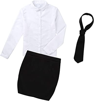 Freebily 3Pcs Lencería Mujer Sexy Erótica Conjuntos Disfraz Escolar Maestra Secritaria Uniforme Trabajo Formal de Oficina Camisa Blanca Manga Larga Mini Falda Bodycon Talla Grande White&Black Small: Amazon.es: Ropa y accesorios